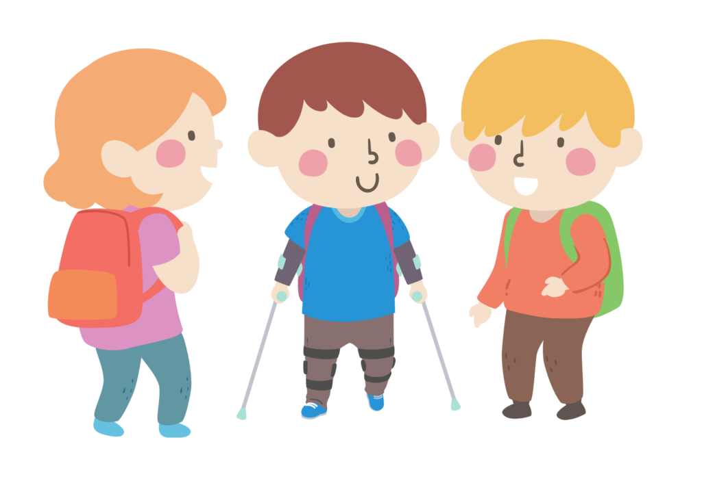Illustration of a young boy wearing leg braces being greeted by two other children.