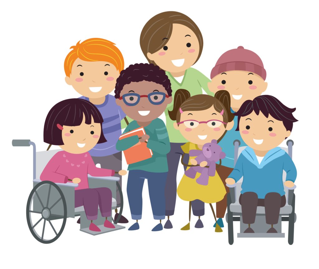 Illustration of a nurse taking care f a group of children with diverse abilities.
