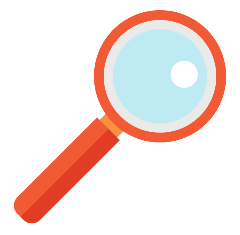 Graphic of a red magnifying glass.