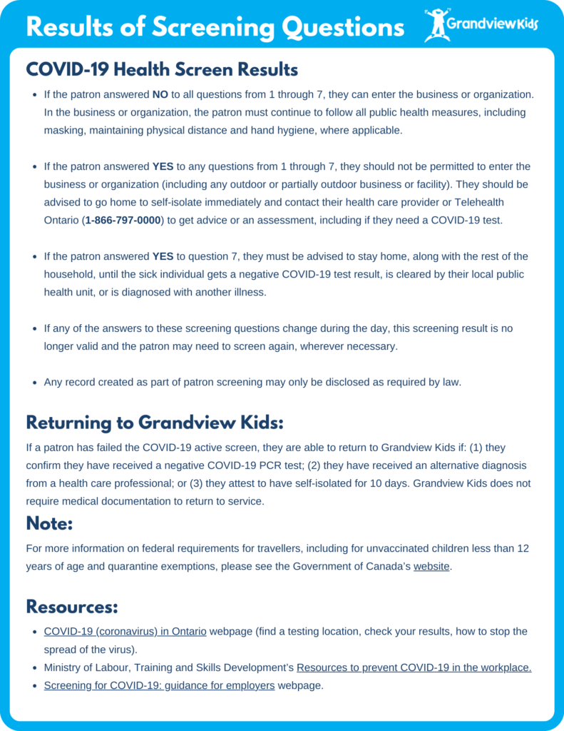 Updated Grandview Kids COVID-19 Health Screen