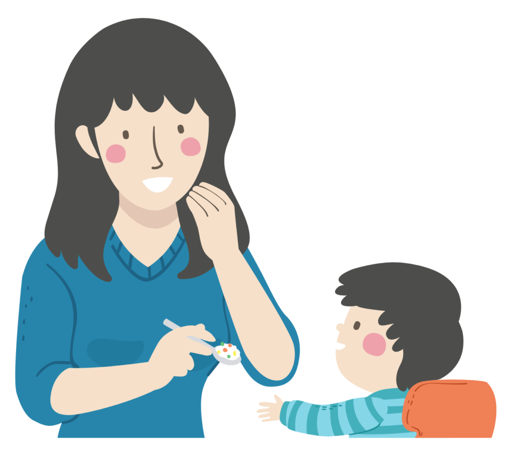 Illustration of a mother gesturing to eat food with her left hand while she feeds her infant son with a spoon in her left hand.