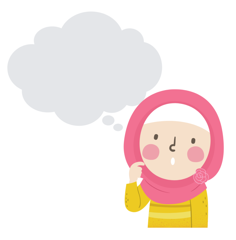 An illustration of a little girl wearing a hijab with a thought bubble over her head.