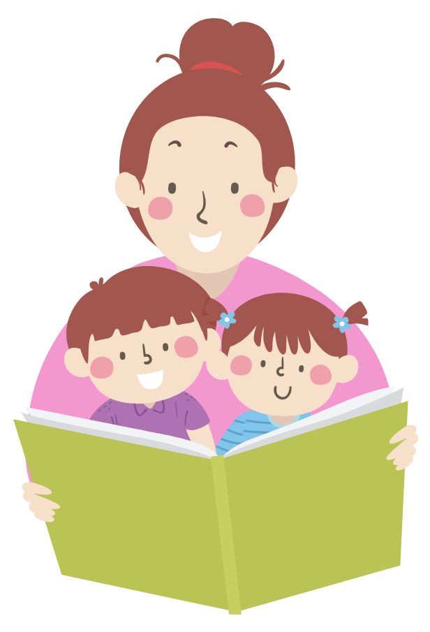 Illustration of mother reading to her two kids sitting in her lap
