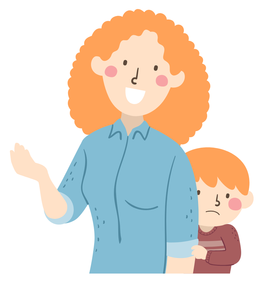Illustration of mother speaking while her son hides behind her timidly.