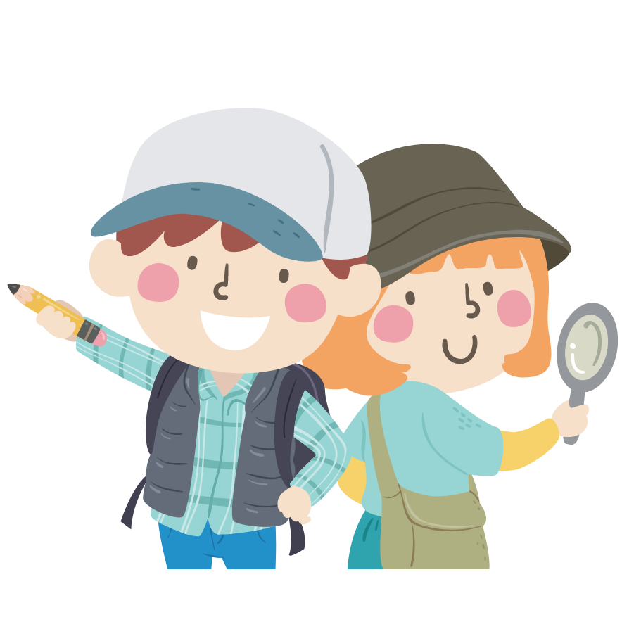 Illustration of a boy and girl on an expedition holding a magnifying glass and a pencil.