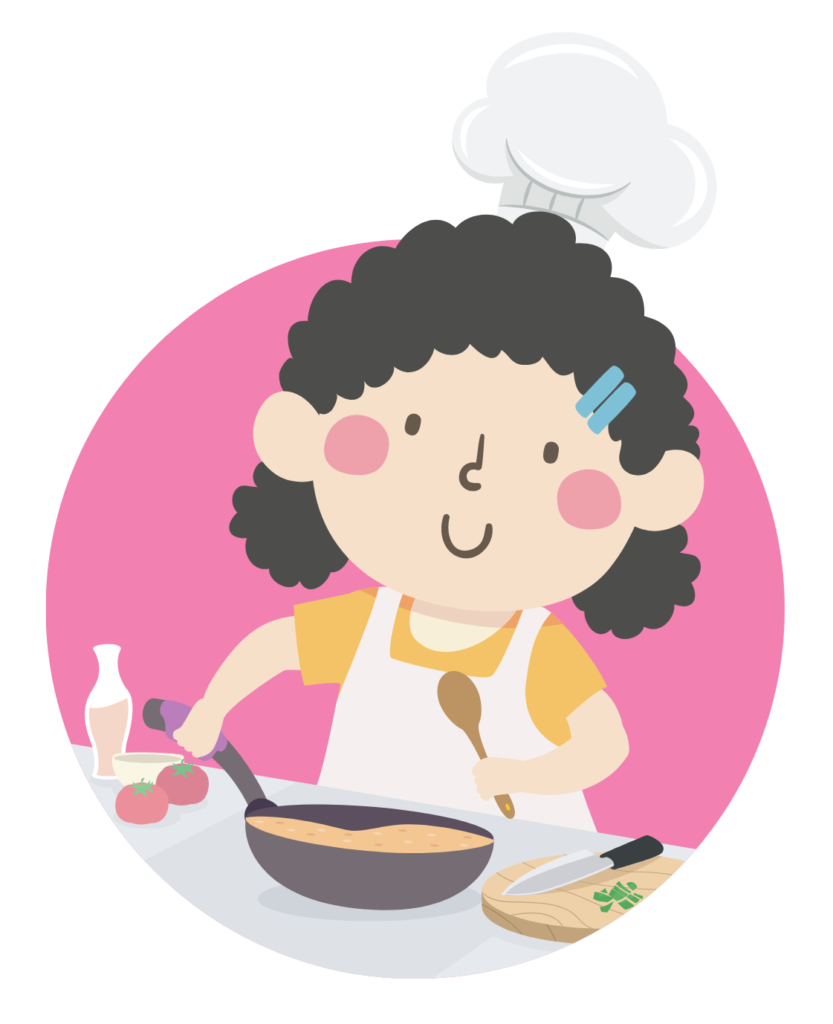 Illustration of a kid girl wearing a chef hat, holding a pan and spoon while cooking in the kitchen.