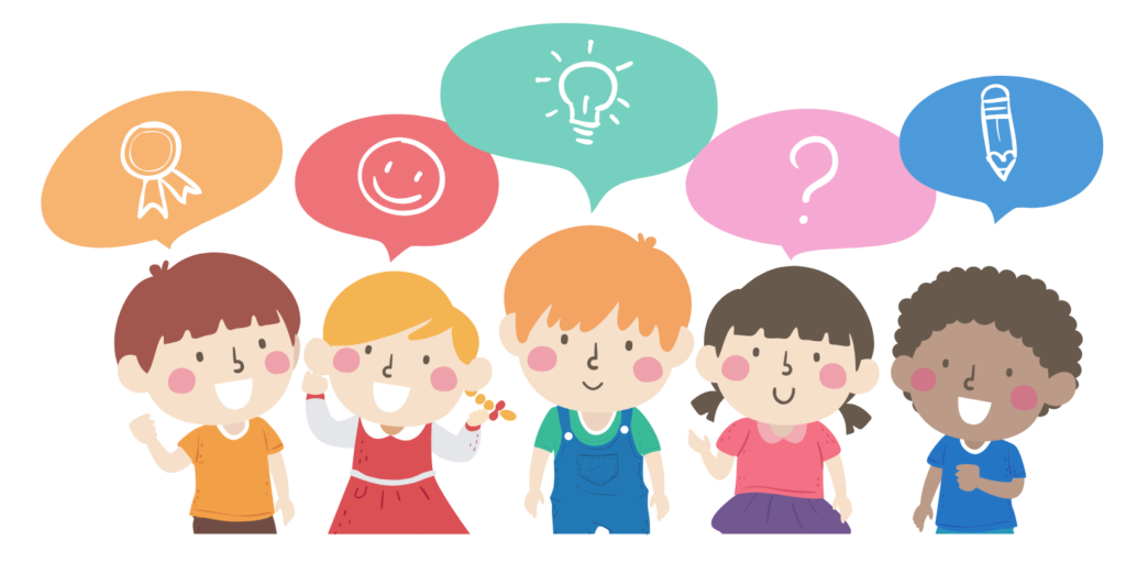 An illustration of 5 children with multicoloured speech bubbles over their heads.