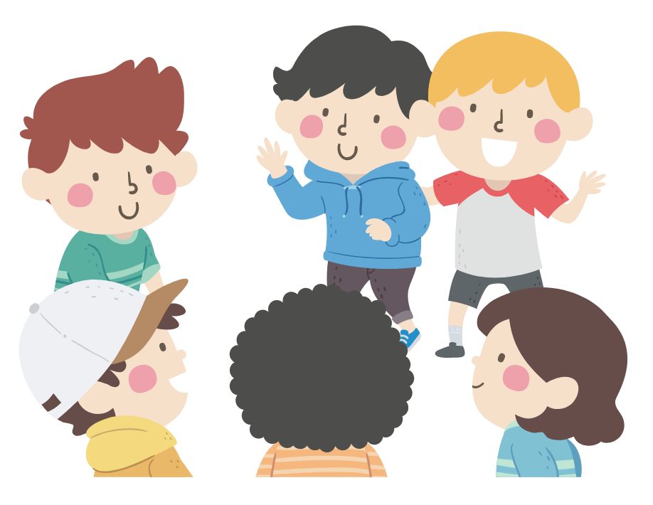 Illustration of kids introducing a new friend to the group