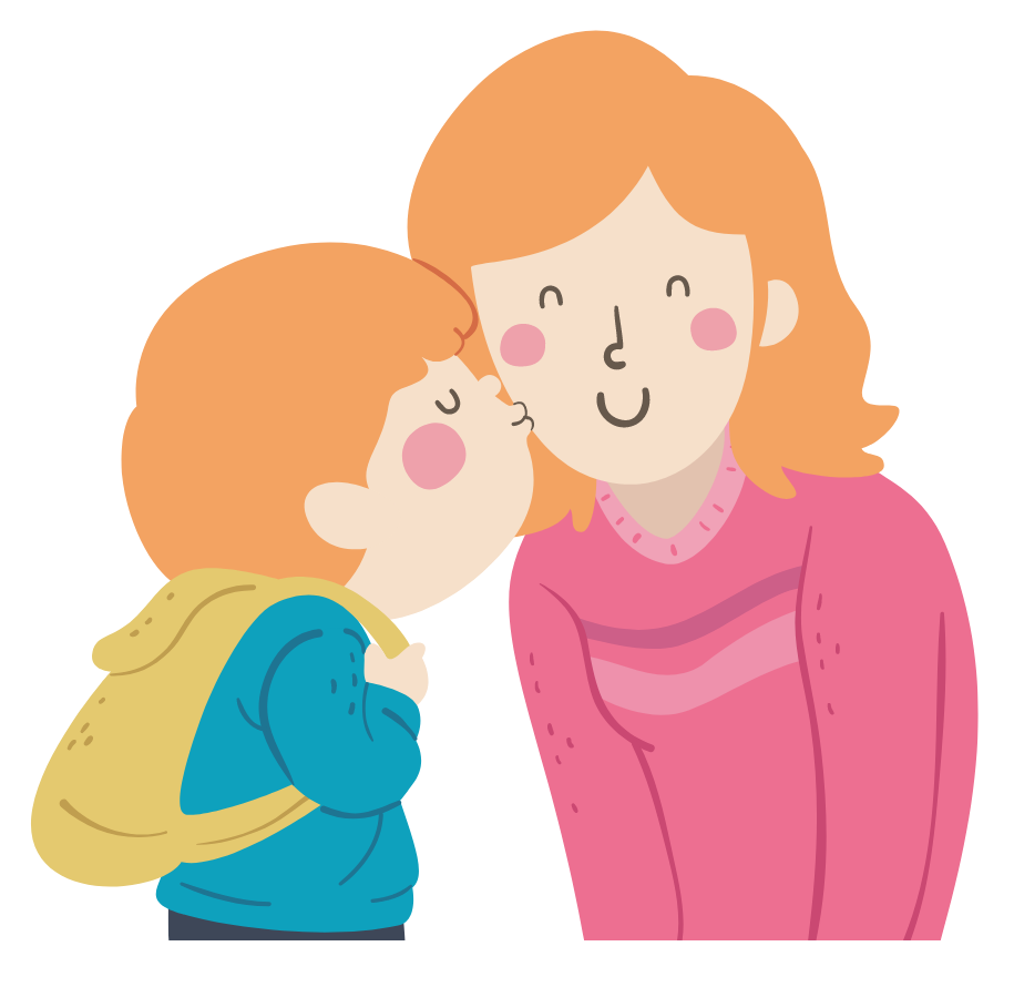 Illustration of little boy kissing his mother on her cheek.