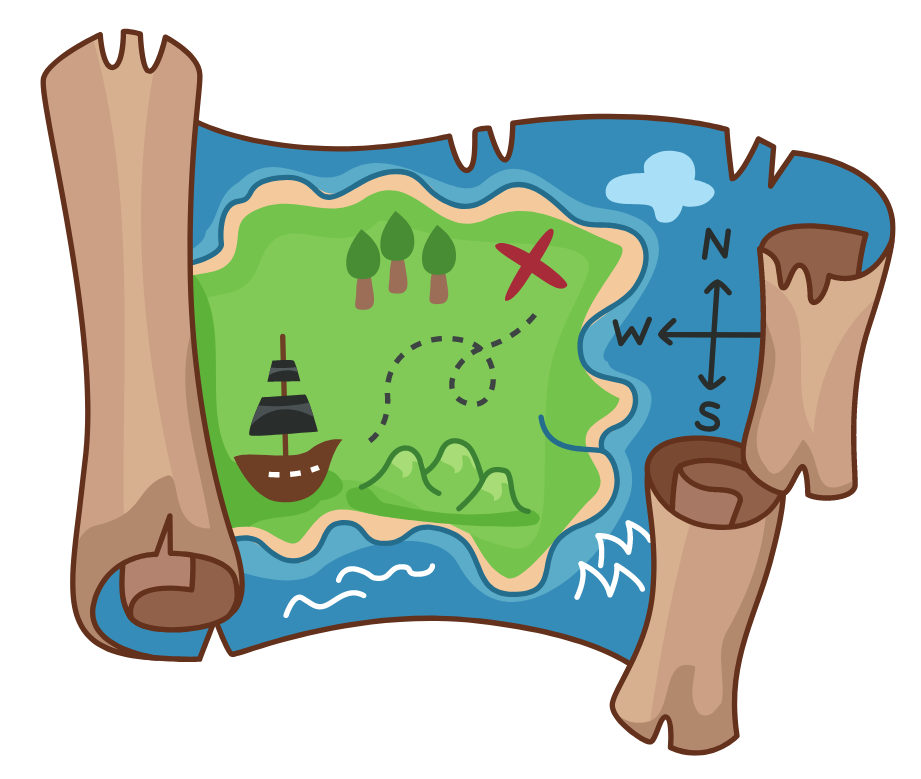 Illustration of a torn up treasure map.