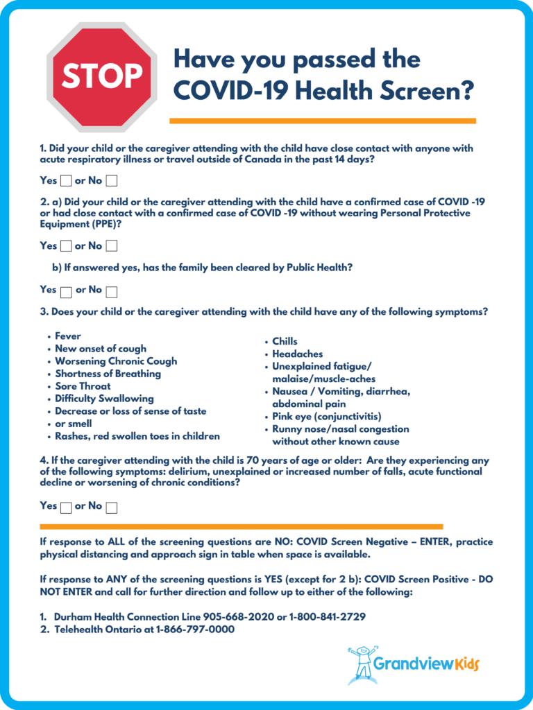 COVID-19 health screen at Grandview Kids