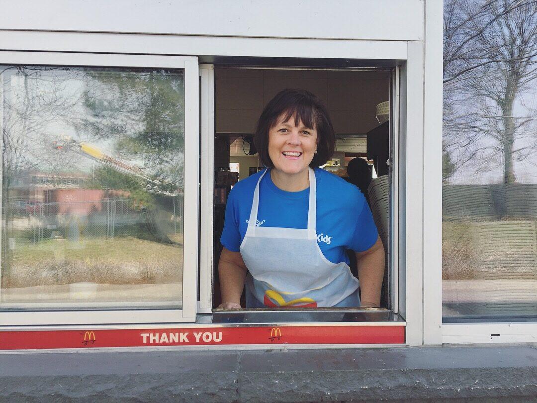 CEO Lorraine serving McDonald's