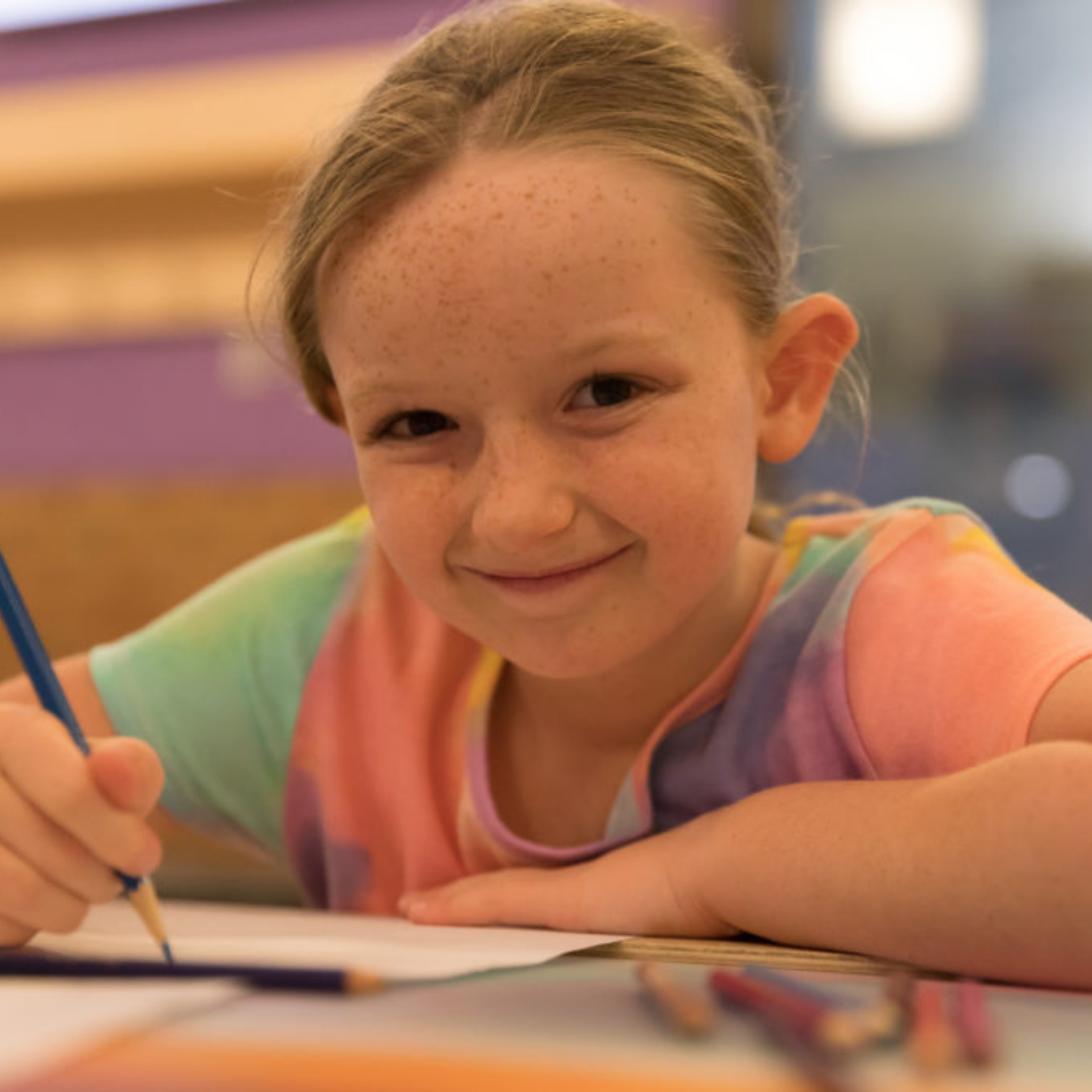 Picture of young girl writing