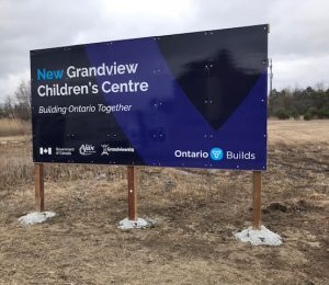 New Ajax Grandview Kids HQ Sign indicating its location