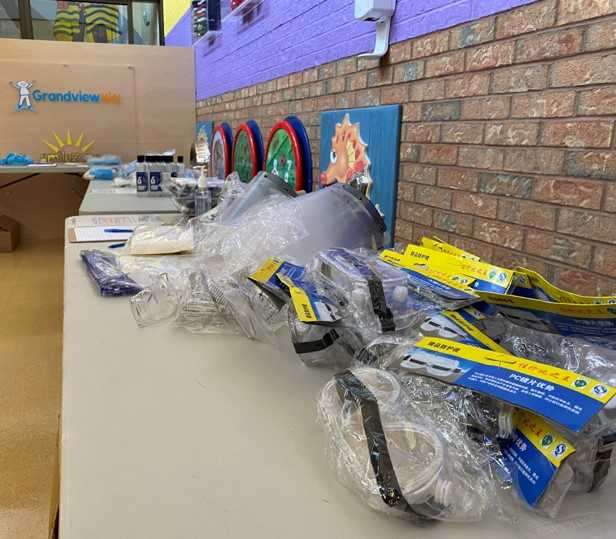 Personal Protective Equipment (PPE) laid out on a table for Grandview Kids staff to access
