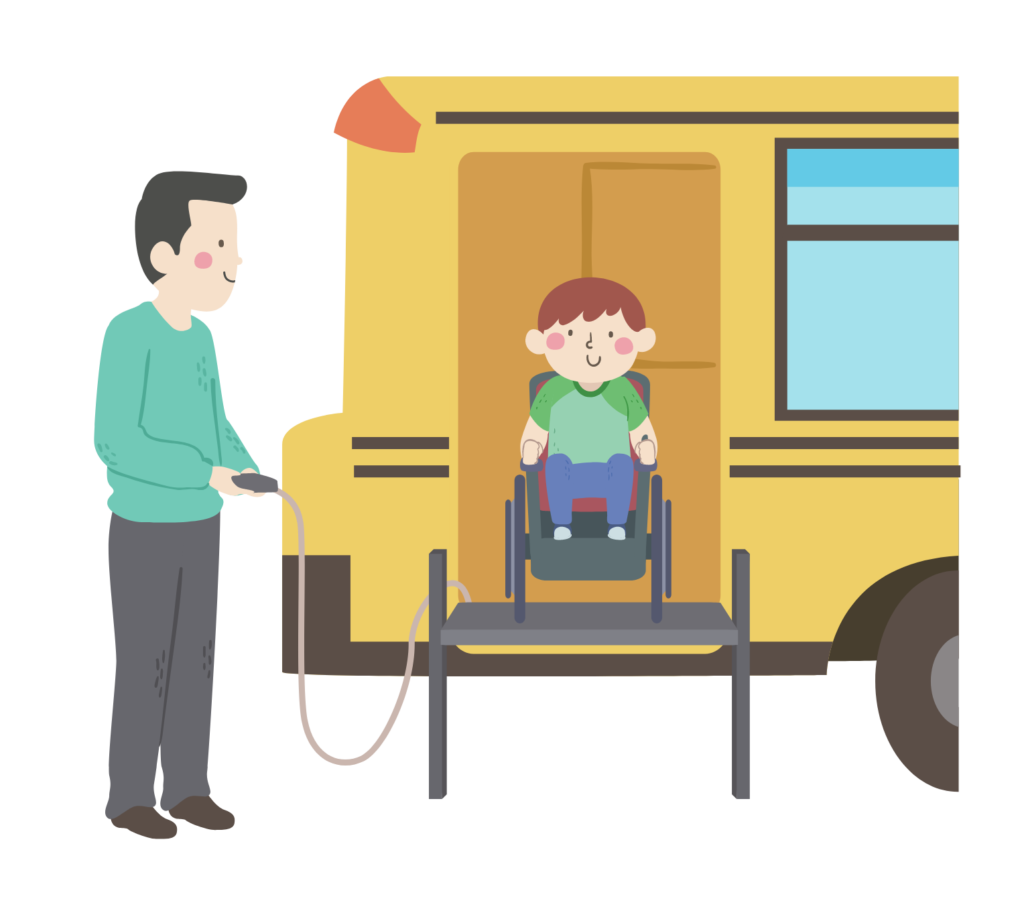 Illustration of a kid boy in a wheelchair using a lift on a vehicle.