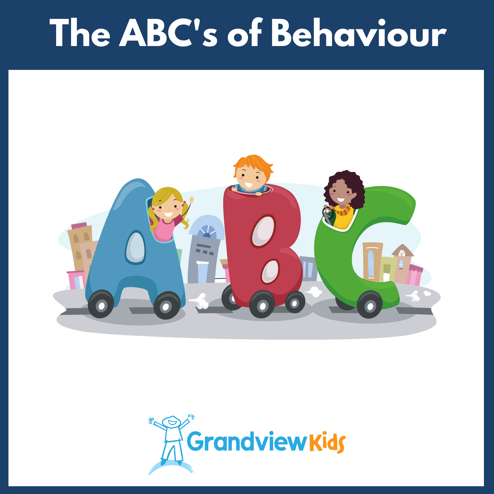 Illustration of three children in cars that are shaped like the letters 'a,' 'b,' and 'c'