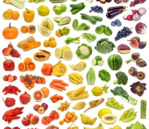 Image showcasing fruit and vegetables colour-coordinated to resemble a rainbow.