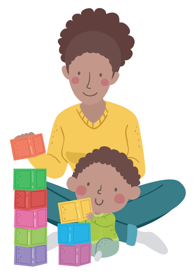 Illustration of kid boy stacking blocks with his mother sat behind him.
