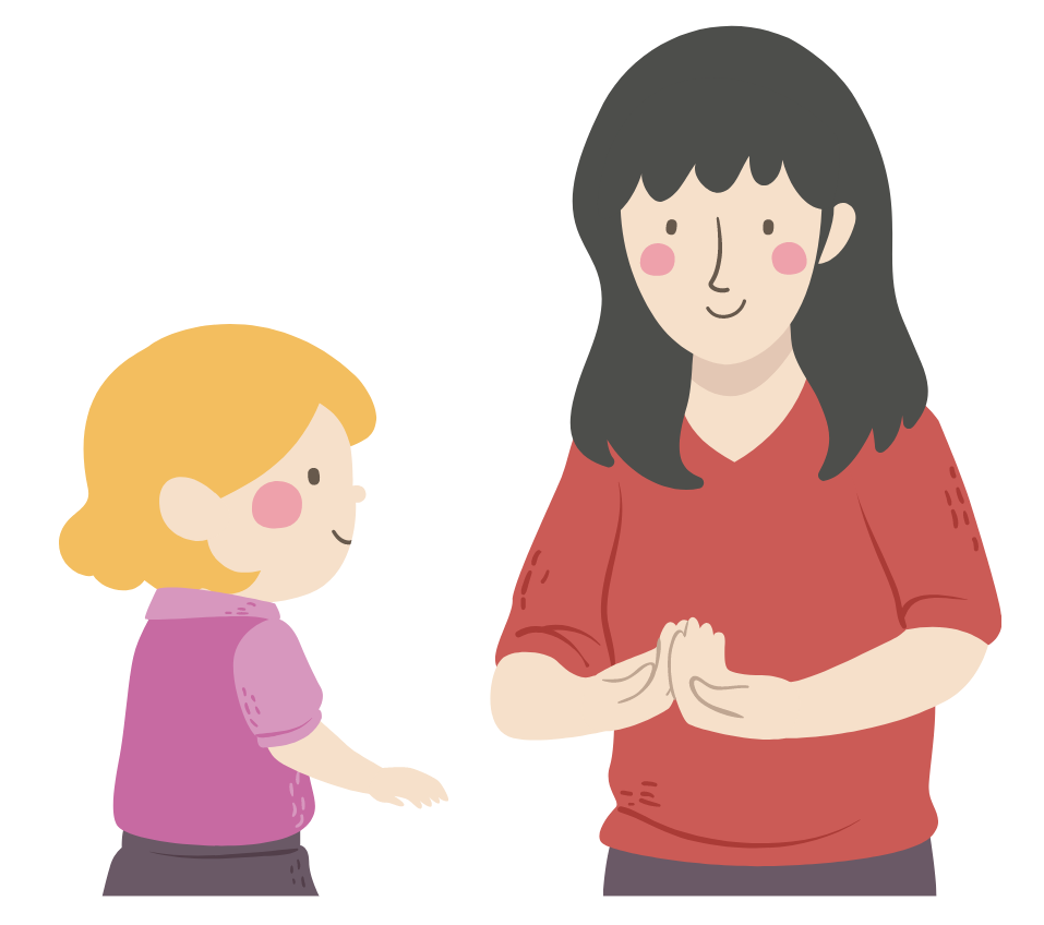 Illustration of mother teaching her daughter sign language.