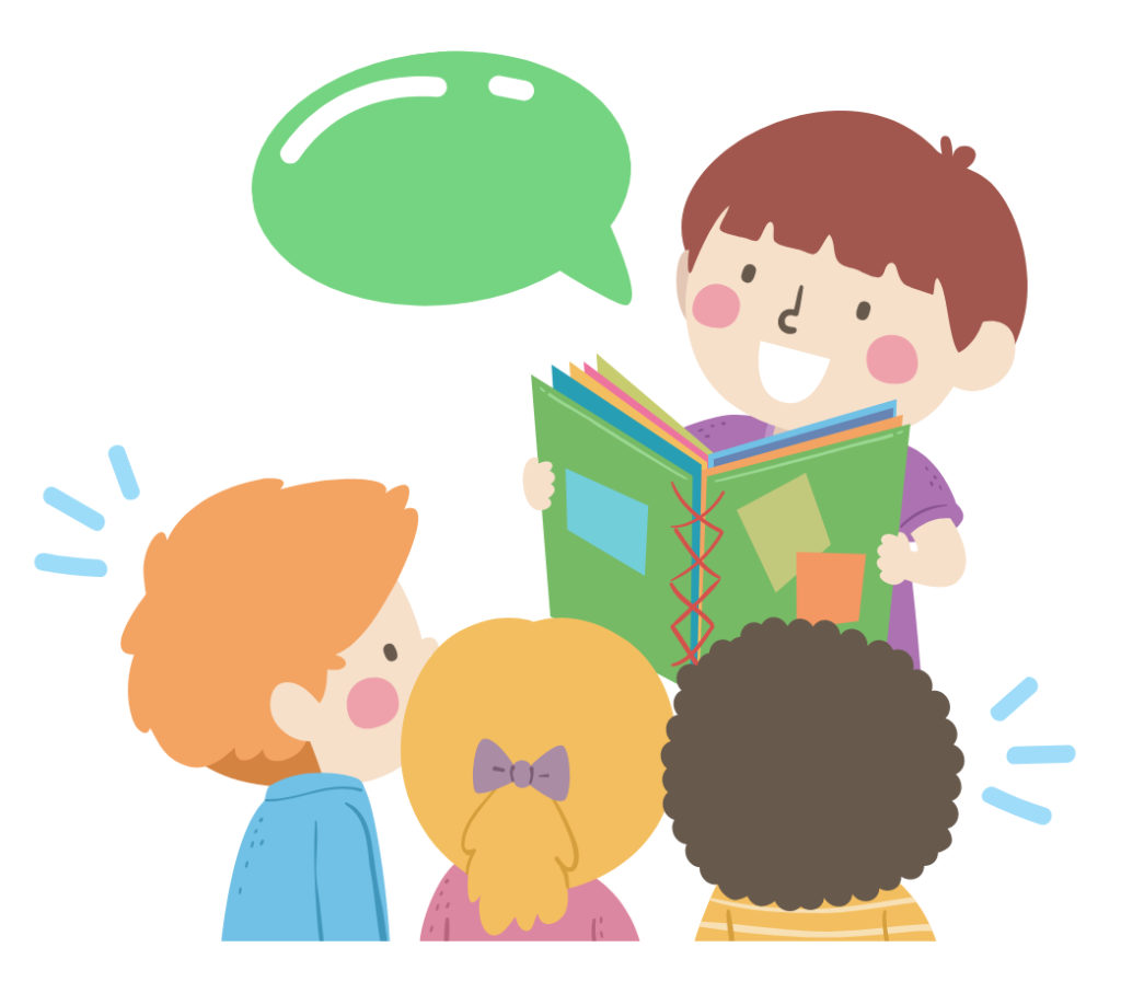 Illustration of boy reading aloud to a group of three peers.